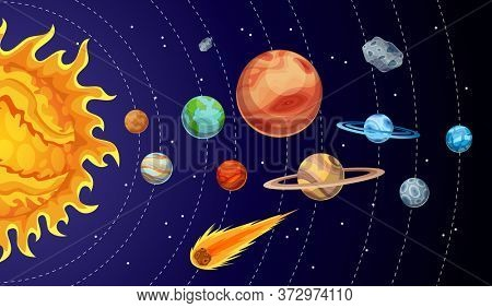 Cartoon solar system planets. Astronomical observatory small planet. Astronomy galaxy space. Sun Mercury Venus Earth Mars Jupiter Saturn Uranus Neptune Comet Asteroid. Orbits rotation