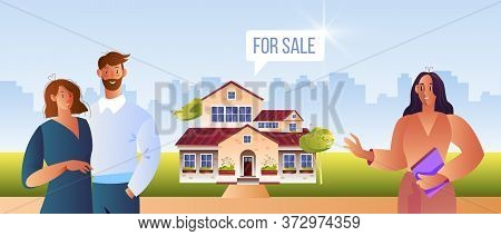 Real Estate Vector Illustration With Young Family Looking For New House In Suburb, Realtor, Cityscap