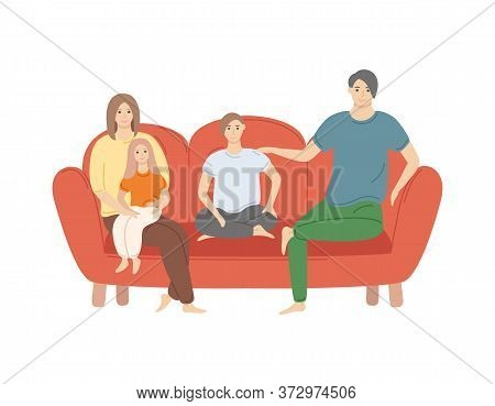 People At Home Vector, Family Spending Time Together Isolated Woman And Man With Children. Mother Ho