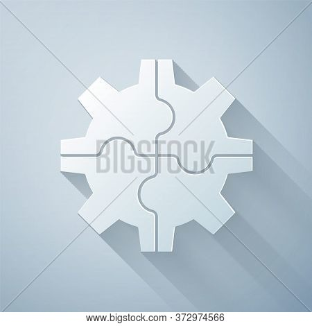 Paper Cut Gear Icon Isolated On Grey Background. Cogwheel Gear Settings Sign. Cog Symbol. Paper Art