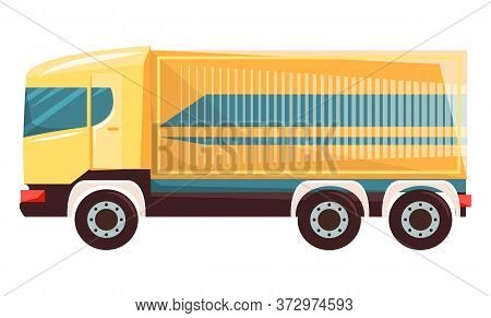 Shipping Of Goods By Lorry With Big Container Vector, Flat Style Car With Wagon Isolated Automobile.