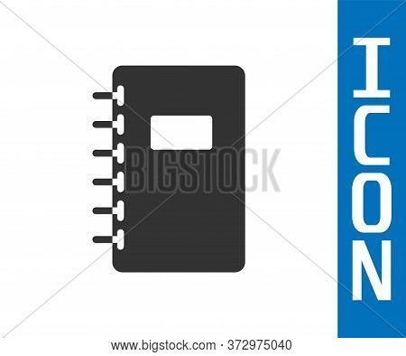 Grey Notebook Icon Isolated On White Background. Spiral Notepad Icon. School Notebook. Writing Pad.