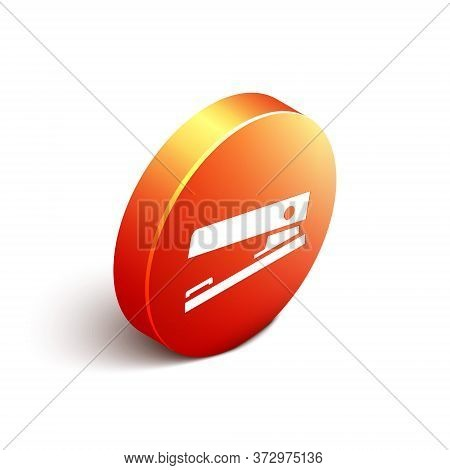 Isometric Office Stapler Icon Isolated On White Background. Stapler, Staple, Paper, Cardboard, Offic