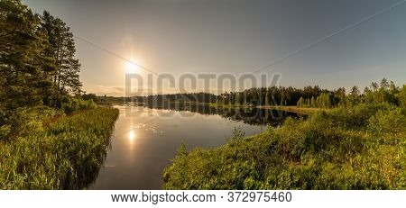 Beautiful Sunrise On The Lake In Summer. Lithuania.