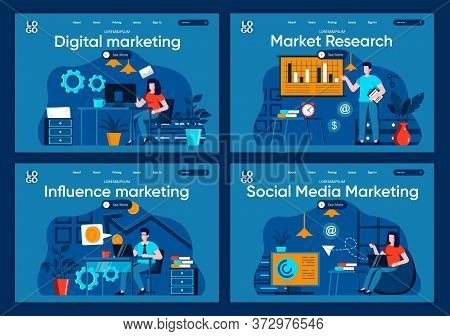 Social Media Marketing Flat Landing Pages Set. Analytics And Strategy Planning Of Advertising Scenes