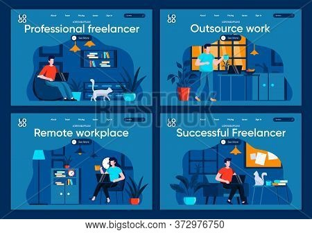 Outsource Work Flat Landing Pages Set. Designers And Developers Working In Home Office Scenes For We