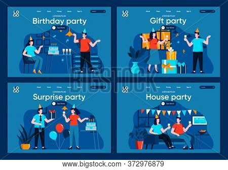 Surprise Party Flat Landing Pages Set. Festive Party At Home With Friends And Decoration Scenes For