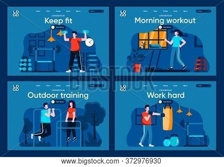 Outdoor Training Flat Landing Pages Set. People Running, Lifting Dumbbells And Training With Punchin