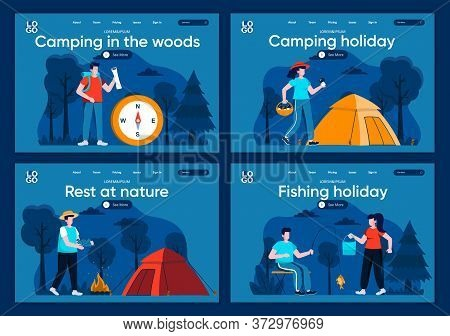 Camping In The Woods Flat Landing Pages Set. Traveling With Backpack And Camping Tent In Forest Scen
