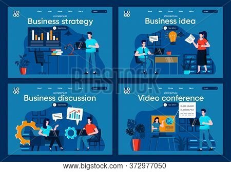 Business Strategy Flat Landing Pages Set. Idea Presentation With Analytics, Partnership And Teamwork