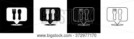 Set Cafe And Restaurant Location Icon Isolated On Black And White Background. Fork And Spoon Eatery