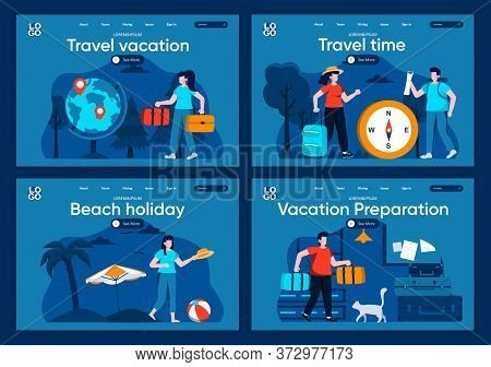 Travel Vacation Flat Landing Pages Set. Summer Time Activity On Beach, Couple With Luggage Scenes Fo