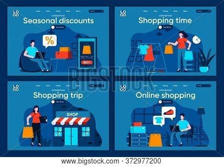 Shopping Time Flat Landing Pages Set. Internet Discount Marketplace, Online Order And Delivery At Ho