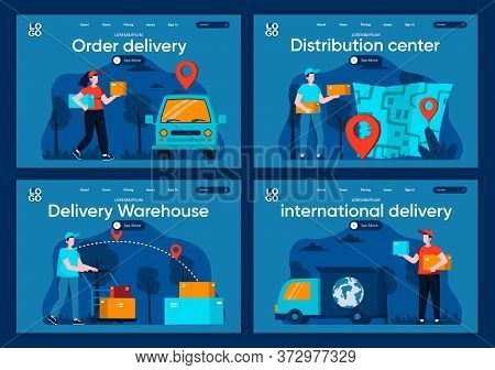 International Delivery Flat Landing Pages Set. Online Order And Delivery At Home, Global Shipping Sc