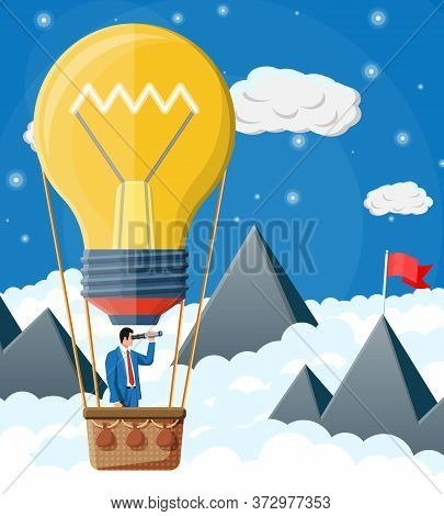 Businessman Flying In Big Idea Bulb Formed Balloon. Business Man On Hot Air Balloon Looking Through