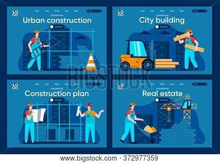 City Building Flat Landing Pages Set. Professional Engineering And Building, People Working On Const