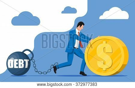 Businessman Chained To Big Heavy Debt Weight With Shackles. Character Tied By Chain To Large Dumbbel