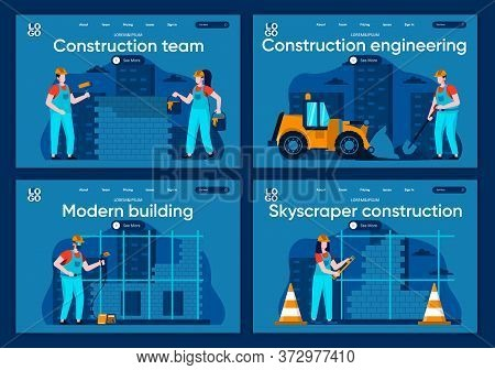 Construction Engineering Flat Landing Pages Set. Welder, Painter And Bricklayer Working At Scenes Fo