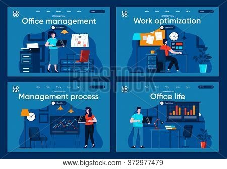 Office Life Flat Landing Pages Set. Corporate Businesspersons Working At Workplace In Office Scenes