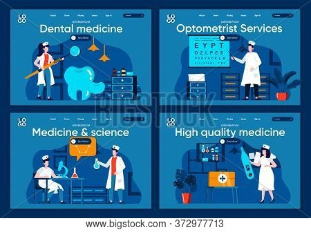 Medicine And Science Flat Landing Pages Set. Laboratory Diagnostics, Pharmacology Research Scenes Fo