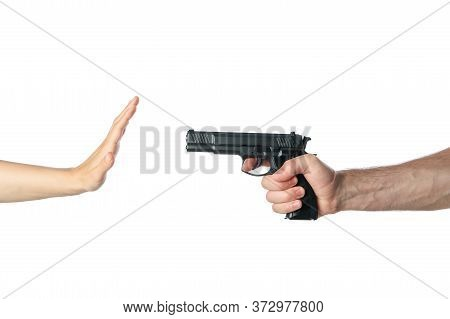 The Robber Pointed A Hand With A Gun At A Woman, Isolated On White Background