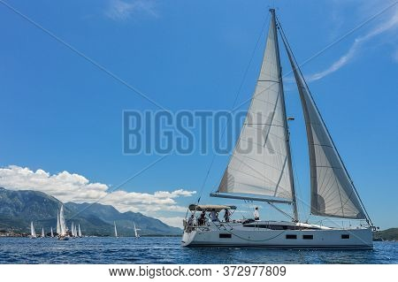Sailing Boat In The Foreground And Sailing Boats Far Away In The Adriatic Sea On The Background Of T