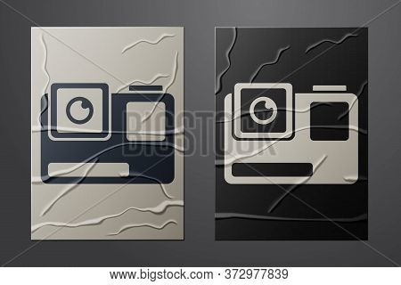 White Action Extreme Camera Icon Isolated On Crumpled Paper Background. Video Camera Equipment For F