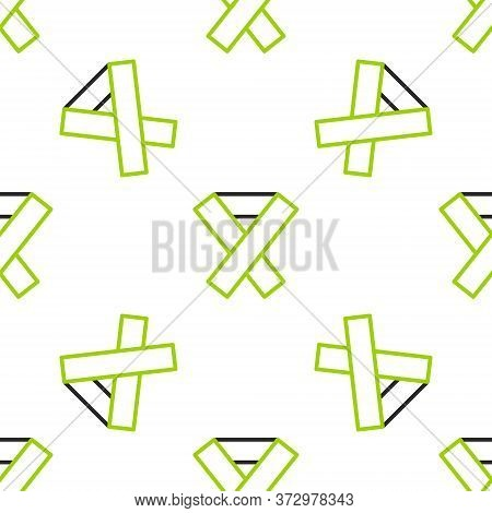 Line Awareness Ribbon Icon Isolated Seamless Pattern On White Background. Public Awareness To Disabi