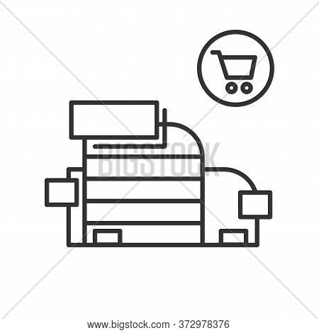 Shopping Mall Icon. Simple Vector Illustration Of Trade Center With Shopping Kart Linear Pictogram.