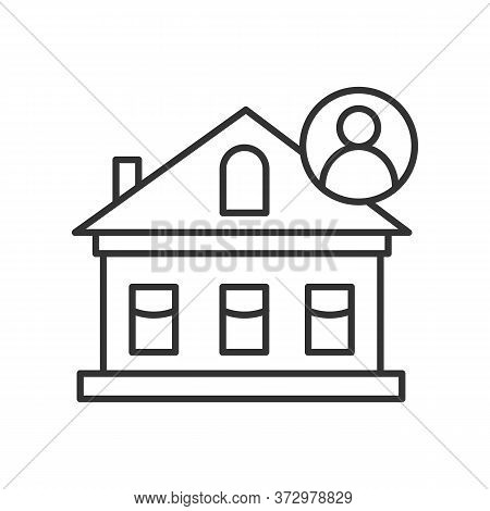 House Icon. Private Home With Resident Linear Pictogram. Concept Of Individual City Housing, Suburb