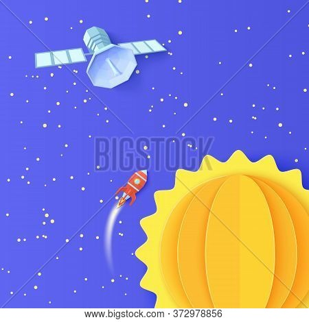 Red Rocket Launch In Space And Polygonal Satellite In Paper Cut Style. Galaxy Universe Landscape 3d