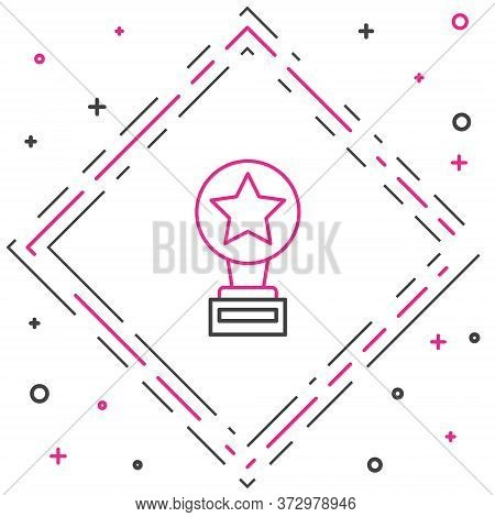 Line Movie Trophy Icon Isolated On White Background. Academy Award Icon. Films And Cinema Symbol. Co