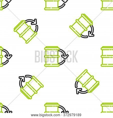 Line Eco Fuel Barrel Icon Isolated Seamless Pattern On White Background. Eco Bio And Barrel. Green E