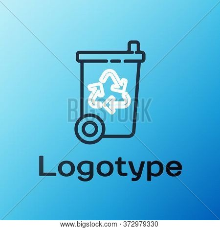 Line Recycle Bin With Recycle Symbol Icon Isolated On Blue Background. Trash Can Icon. Garbage Bin S