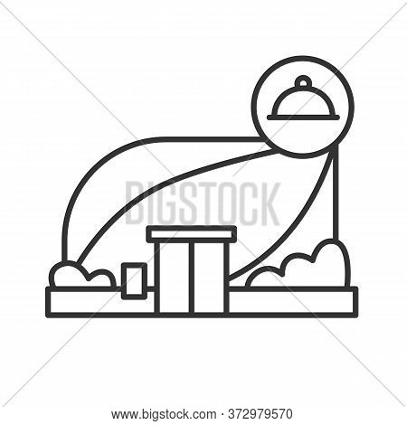 Restaurant Icon. Modern Architecture City Building With Food Linear Pictogram. Concept Of Fashionabl