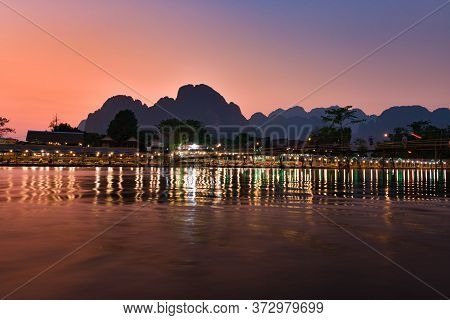 Nam Song River After Sunset Vang Vieng Laos