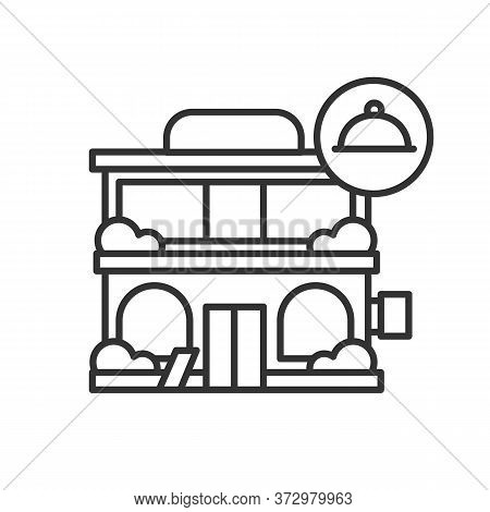 Modern Restraint Icon. Modern City Architecture Restaurant Building With Food Line Pictogram. Concep