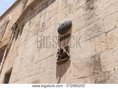 Jerusalem, Israel, June 13, 2020 : The Second Stations Of The Way Of The Cross On Via Dolorosa Stree