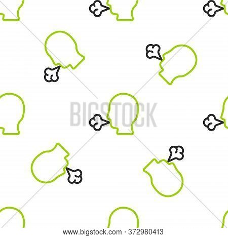 Line Man Coughing Icon Isolated Seamless Pattern On White Background. Viral Infection, Influenza, Fl