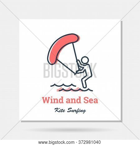 Vector Simple Company Logo Example - Kitesurfingwith Wind At Sea