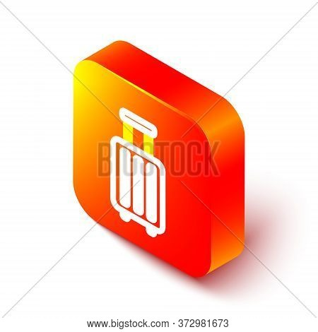 Isometric Line Suitcase For Travel Icon Isolated On White Background. Traveling Baggage Sign. Travel