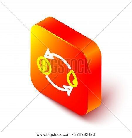 Isometric Line Oil Exchange, Water Transfer, Convert Icon Isolated On White Background. Orange Squar
