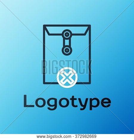 Line Delete Envelope Icon Isolated On Blue Background. Delete Or Error Letter. Cross On Message. Rej