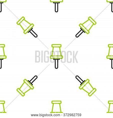 Line Push Pin Icon Isolated Seamless Pattern On White Background. Thumbtacks Sign. Vector Illustrati