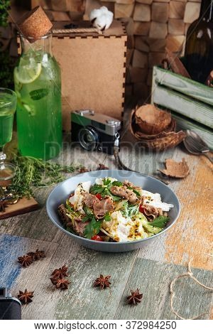 Gourmet Salad With Roast Beef And Vegetables In A Bowl, Vertical