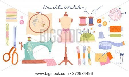 Large Set Of Needlework Icons With Sewing Machine, Threads, Scissors, Dummy, Tape And Accessories, C