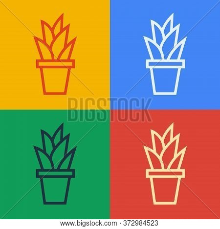 Pop Art Line Plant In Pot Icon Isolated On Color Background. Plant Growing In A Pot. Potted Plant Si