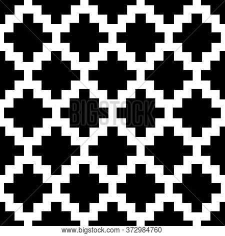Inca Crosses Seamless Pattern. Ethnic Ornament. Folk Background. Geometric Wallpaper. Cross Shapes I