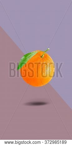 Fruit Suspended In Mid Air Against Two-tone Background