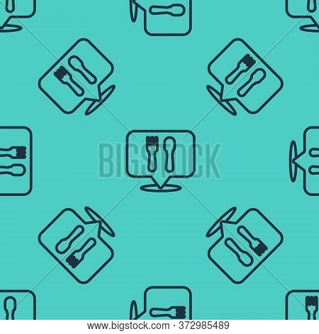 Black Line Cafe And Restaurant Location Icon Isolated Seamless Pattern On Green Background. Fork And